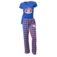 NY Giants Pajama Pants and V - Neck Top Set