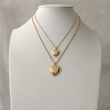 LOVELY GOLD COLOR TWO HEART LOCKET PENDANT LAYERED NECKLACE
