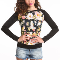 LOVE FLORAL CREWNECK TOP
