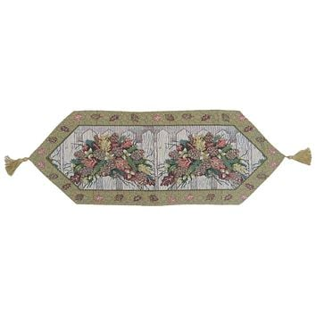 Merry Christmas Fiesta Floral Beige Tan Hand-Crafted Woven Tapestry Desk Dining Table Runners (6068)