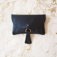 Black Leather Wallet Clutch with Tassel