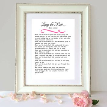 These Hands, Wedding Anniversary Poem, Personalized Wedding Print
