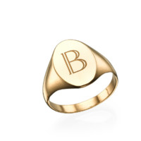 Signet Initial Ring - Gold
