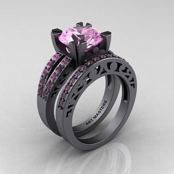 Modern Vintage 14K Gray Gold 3.0 Carat Light Pink Sapphire Solitaire and Wedding Ring Bridal Set R102S-14KGGLPS