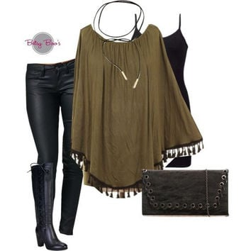 Set 235: Olive Tassel Poncho (includes top, tank & necklace)