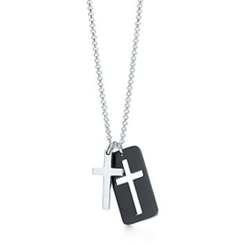 Tiffany & Co. -  Cross double pendant in titanium and sterling silver, midnight.