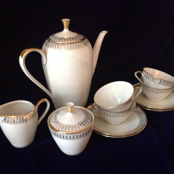 Mid-century Modern Bavarian Qualitatsporzellan 11 piece tea/coffee set - Wedding/Engagement/Housewarming/Birthday Gift - Luxury Entertaining