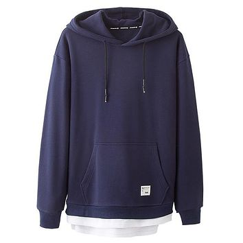Men's Hoodies Classic Kangaroo Pockets Cotton Loose Hoodedshirt Simple Solid Color Casual Man Clothing In Fall