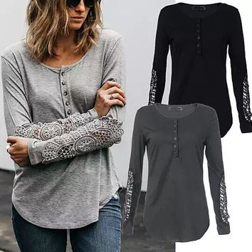 Womens Lace Sleeve Henley Shirt