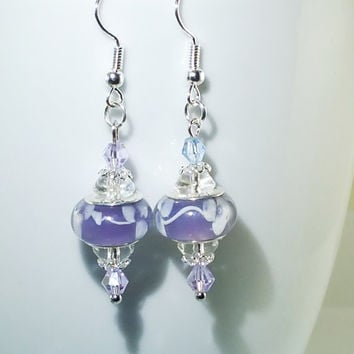 European Bead Silver Dangle Drop Earrings Handmade Lilac Lavender Lampwork, Murano and crystal glass beads