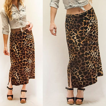 90s Long Velvet Giraffe Animal Print Skirt | Womens size medium large Winter Dress | Grunge Sexy Soft Panne Velvet Boho Chic Cheetah Maxi