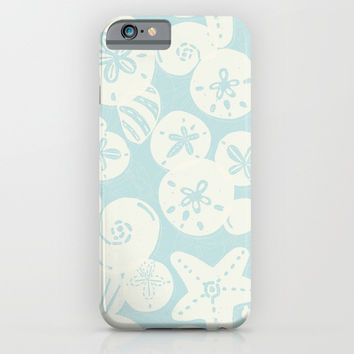 Cream Seashells on Aqua iPhone & iPod Case by Noonday Design