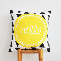 Yellow Geometric Decorative Pillow