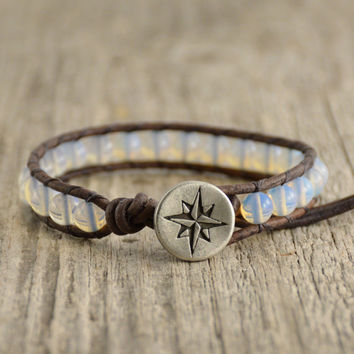Compass jewelry. Beaded opal single wrap bracelet