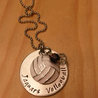 Hand Stamped Volleyball Necklace - Girls Volleyball Necklace - Volleyball Team Gift - Team Colors