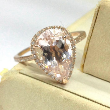 Morganite Engagement Ring 14K Rose Gold!Diamond Wedding Bridal Ring,BIG 10x12mm Pear Cut Pink Morganite,Fashion,Can handmade matching band