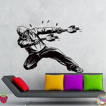 Wall Stickers Vinyl Decal Gangster In Hood Shooting Guns Weapons Killer Unique Gift (z2115)