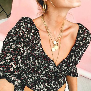 Sexy Floral Bohemian Beach Blouse Shirt Button Vintage Blouses Casual Square Collar Blusa Mujer
