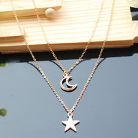 CACHE - Double Layer Star and Moon Chain Necklace
