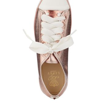 Lipsy Cara Metal Lace Trainers - nude metallic tennis shoes