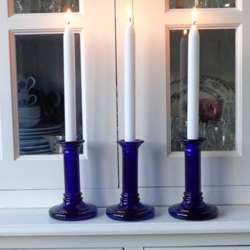Blue glass candle holders, cobalt blue glass candlesticks, antique blue candesticks