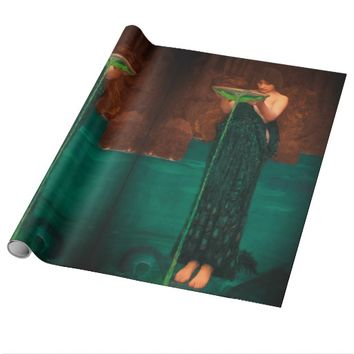 Art nouveau lady in peacock dress wrapping paper