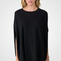 Black Cashmere Oversized Laid-back Poncho Sweater