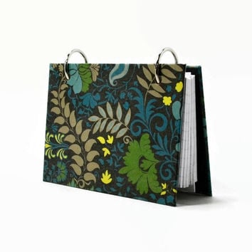 Index card binder, modern blue floral on black, recipe binder, daily memory journal, index card holder for nursing student flashcards