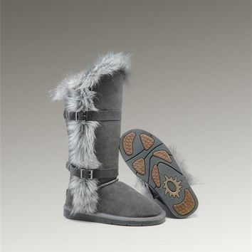 New UGG Fox Fur Tall Boots 1984 Grey Popular