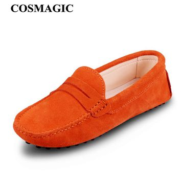 COSMAGIC New Driving Loafers Women Flats Shoe 2017 Casual Soft Nubuck Leather Slip on Lady Moccasins Walking Boat Shoes