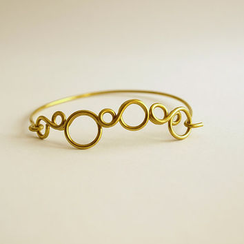 Brass bubbles bangle, Circle cluster bracelet