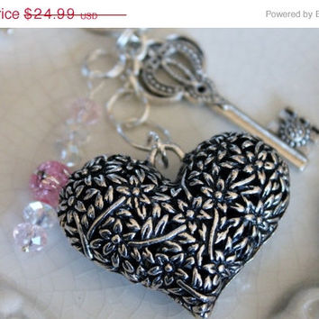 SALE Large filigree heart  key chain with skeleton key , Swarovski crystals, silver metal keychain