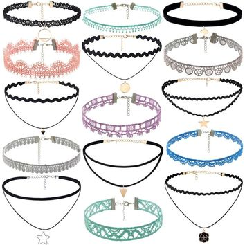15Pieces Choker Necklace Set Stretch Velvet Classic Gothic Tattoo Lace Choker