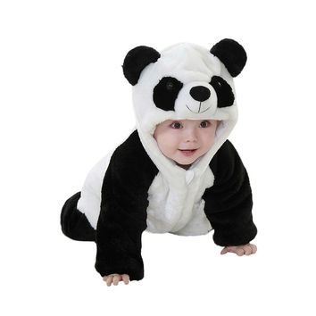 Toddler Newborn Baby Boys Girls Panda Cartoon Hooded Rompers Outfits baby romper Winter Clothes drop ship