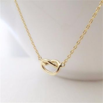10pcs_Fashion Love Knot Charm Necklace For Bridesmaid Gift Birthday Gift Love Heart Necklace Tied Knot Necklace
