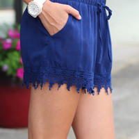 Feel the Heat Crochet Shorts {Navy}