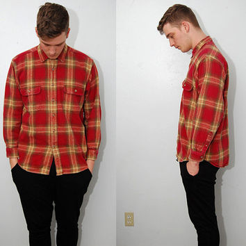 vintage FLANNEL SHIRT (L) button up 90s red plaid thick winter warm fade outdoor large hiking soft grunge ivory men unisex camp hunt hipster