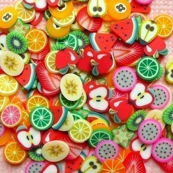 Polymer Clay Cane Fruit Assorted Fimo Clay by MiniatureSweet