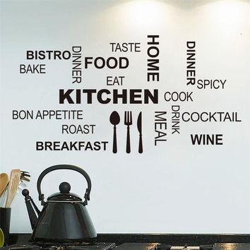 8335 2.5 Creative art kicthen wall stickers home decor Knife fork spoon cute vinyl wall sticker adesivo de parede decoration
