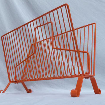 Danish Modern Rack Wire Book Magazine Orange Bathroom Towel Shelf Tablet iPad Storage Remote Living Room Home Decor Mid Century Furniture