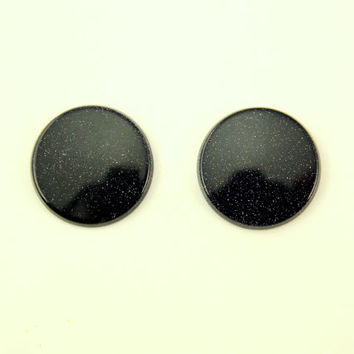 Blue Goldstone 18 mm Round Magnetic Non Pierced Clip On Earrings With Free Pair Of Extra Backs