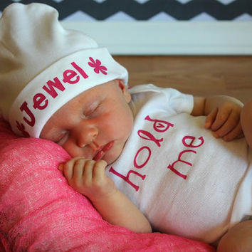Baby Girl Newborn Hold Me Bodysuit and Personalized Custom Beanie Hat
