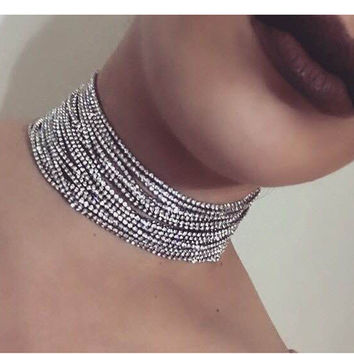 Layered Rhinestone choker Maxi Statement Necklace 2017 Big sparkly choker Fashion jewelry Trendy Chocker