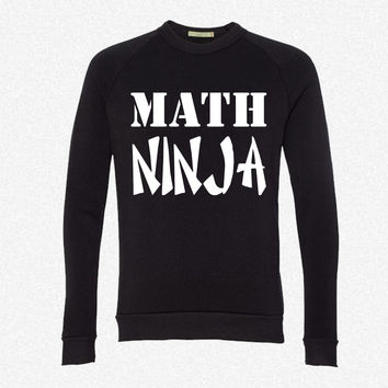 Math Ninja fleece crewneck sweatshirt