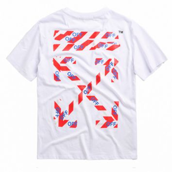 Off White Summer New Fashion Letter Cross Arrow Print Women Men Top T-Shirt White