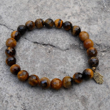 prosperity - genuine faceted tiger's eye gemstone wrist mala bracelet