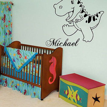 WALL DECALS PERSONALIZED NAME DINOSAUR VINYL DECAL STICKER KIDS ROOM DECOR A608