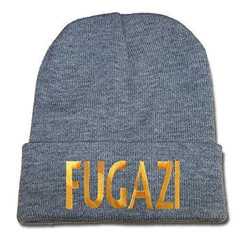 JIUWEI Fugazi Punk Band Logo Beanie Fashion Unisex Embroidery Beanies Skullies Knitted Hats Skull Caps - Grey