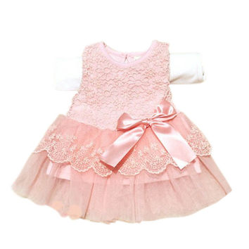Summer Baby Girls Sleeveless Lace Dress Crochet Princess dress Kids With Bow Belt Party Dresses vestidos