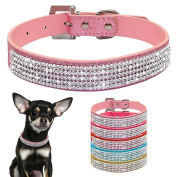Bling Diamante Rhinestone PU Leather Cat Dog Collars Pink for Small Medium Dogs Chihuahua Yorkie 5 Colors Size XS S M L